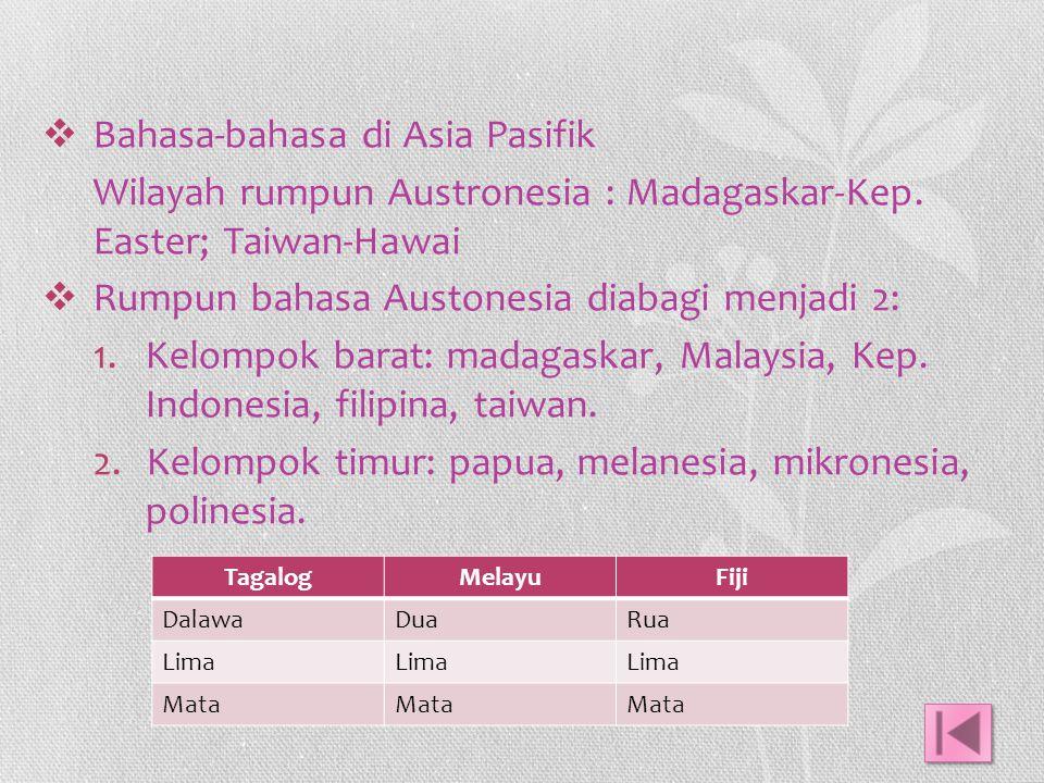  Bahasa-bahasa di Asia Pasifik Wilayah rumpun Austronesia : Madagaskar-Kep. Easter; Taiwan-Hawai  Rumpun bahasa Austonesia diabagi menjadi 2: 1.Kelo