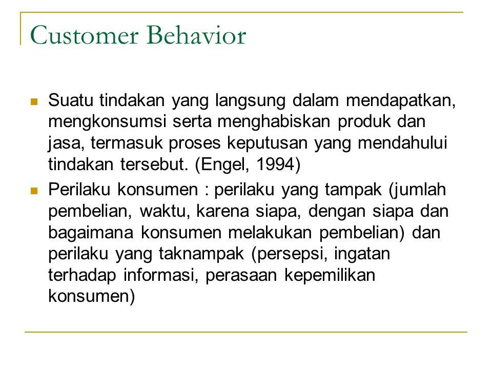 Customer Behavior Suatu tindakan yang langsung dalam mendapatkan, mengkonsumsi serta menghabiskan produk dan jasa, termasuk proses keputusan yang mendahului tindakan tersebut.