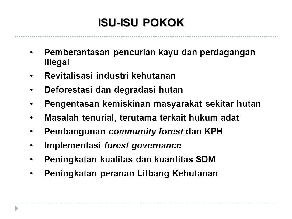 ISU-ISU POKOK Pemberantasan pencurian kayu dan perdagangan illegal Revitalisasi industri kehutanan Deforestasi dan degradasi hutan Pengentasan kemiski