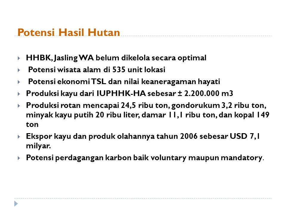 Potensi Hasil Hutan  HHBK, Jasling WA belum dikelola secara optimal  Potensi wisata alam di 535 unit lokasi  Potensi ekonomi TSL dan nilai keanerag
