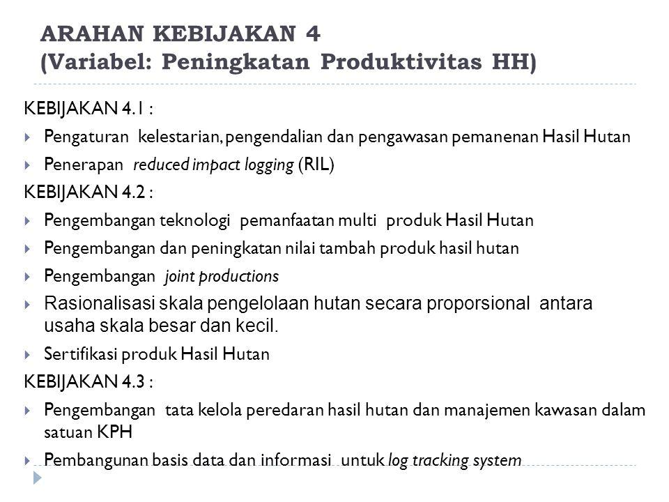 ARAHAN KEBIJAKAN 4 (Variabel: Peningkatan Produktivitas HH) KEBIJAKAN 4.1 :  Pengaturan kelestarian, pengendalian dan pengawasan pemanenan Hasil Huta