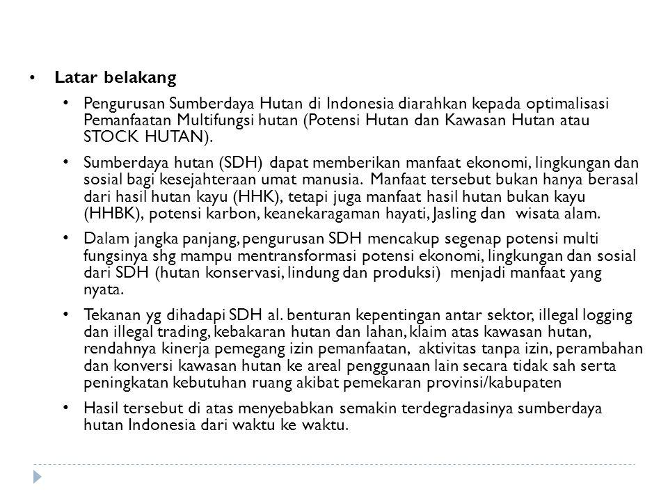 Latar belakang Pengurusan Sumberdaya Hutan di Indonesia diarahkan kepada optimalisasi Pemanfaatan Multifungsi hutan (Potensi Hutan dan Kawasan Hutan a
