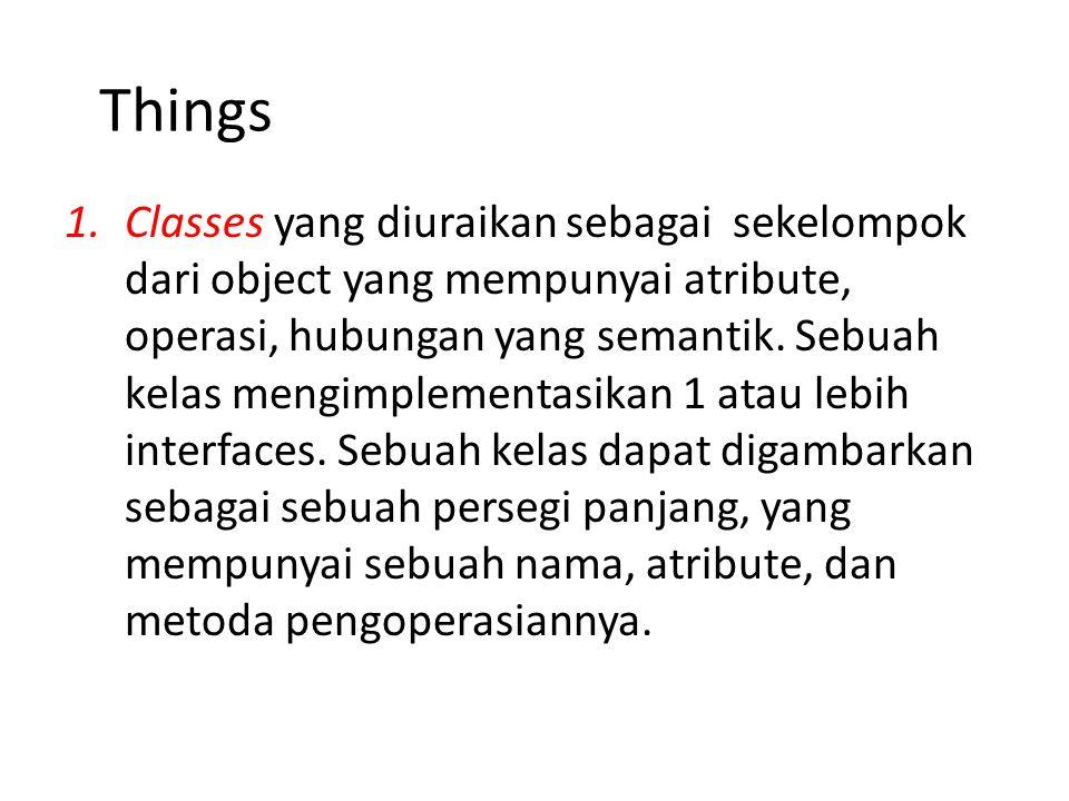 1.Classes yang diuraikan sebagai sekelompok dari object yang mempunyai atribute, operasi, hubungan yang semantik.