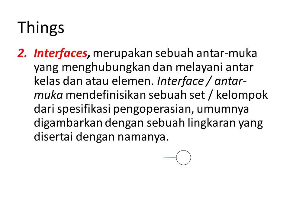 Things 2.Interfaces, merupakan sebuah antar-muka yang menghubungkan dan melayani antar kelas dan atau elemen.