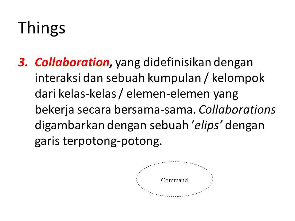 Things 3.Collaboration, yang didefinisikan dengan interaksi dan sebuah kumpulan / kelompok dari kelas-kelas / elemen-elemen yang bekerja secara bersama-sama.