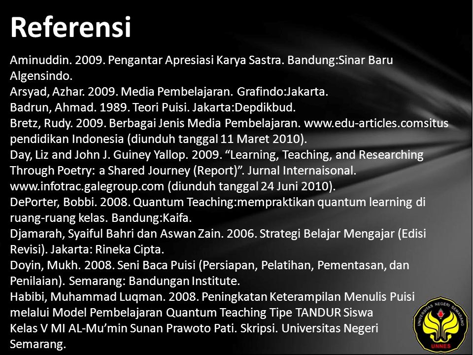 Referensi Aminuddin. 2009. Pengantar Apresiasi Karya Sastra.