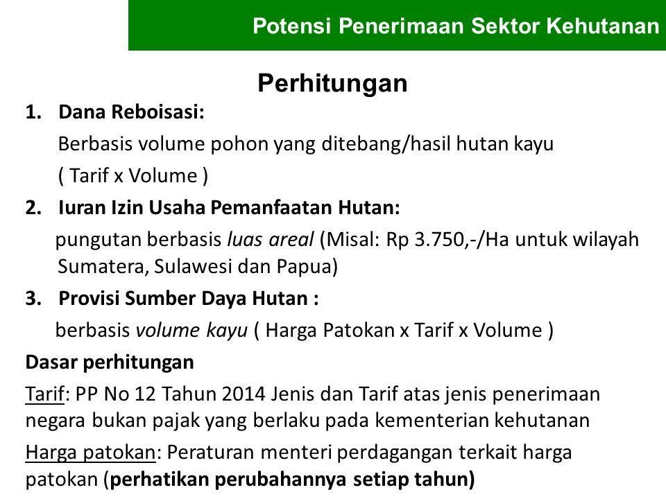 Perhitungan 1.Dana Reboisasi: Berbasis volume pohon yang ditebang/hasil hutan kayu ( Tarif x Volume ) 2.Iuran Izin Usaha Pemanfaatan Hutan: pungutan b