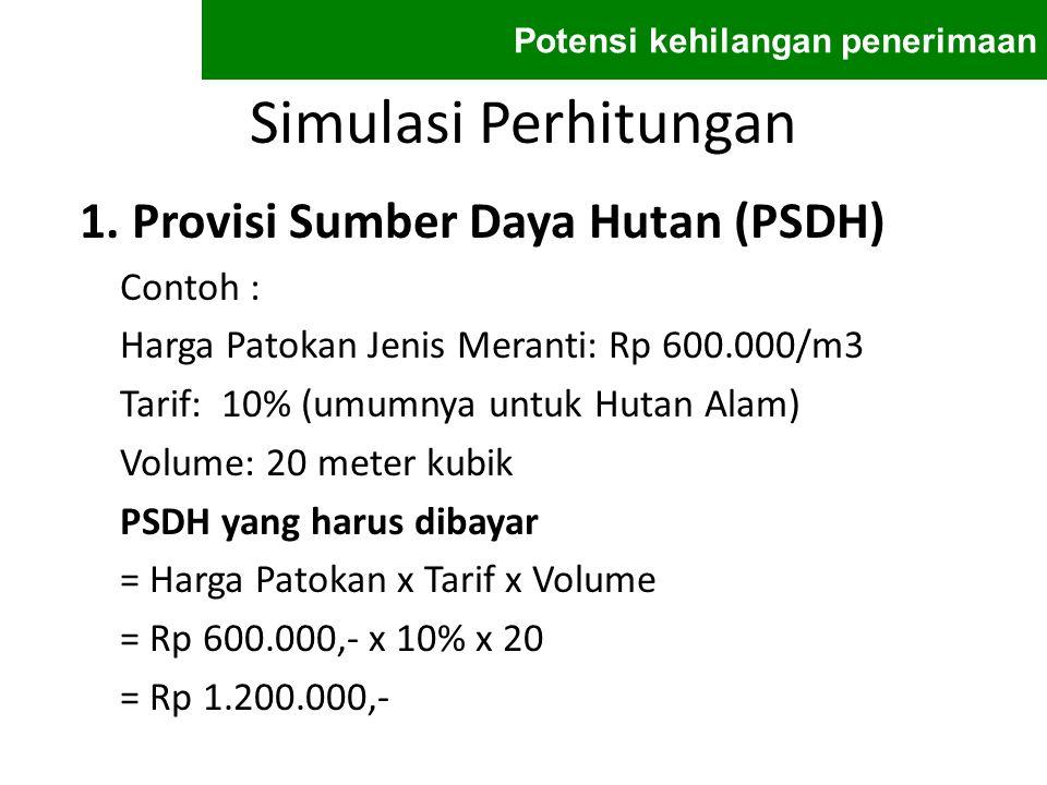 Simulasi Perhitungan 1. Provisi Sumber Daya Hutan (PSDH) Contoh : Harga Patokan Jenis Meranti: Rp 600.000/m3 Tarif: 10% (umumnya untuk Hutan Alam) Vol