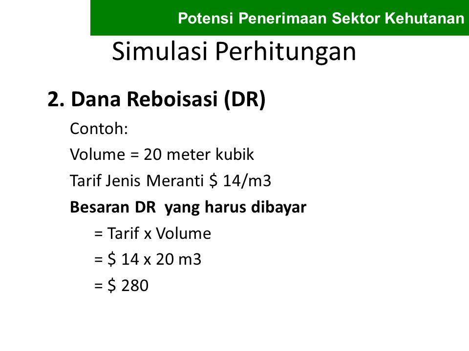 Simulasi Perhitungan 2. Dana Reboisasi (DR) Contoh: Volume = 20 meter kubik Tarif Jenis Meranti $ 14/m3 Besaran DR yang harus dibayar = Tarif x Volume