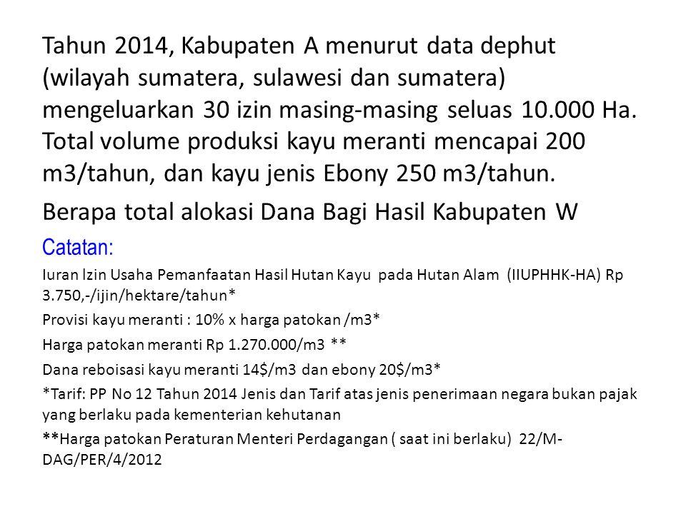 Tahun 2014, Kabupaten A menurut data dephut (wilayah sumatera, sulawesi dan sumatera) mengeluarkan 30 izin masing-masing seluas 10.000 Ha. Total volum