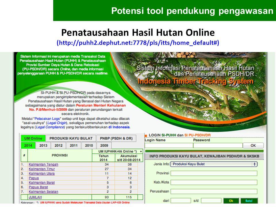 Penatausahaan Hasil Hutan Online (http://puhh2.dephut.net:7778/pls/itts/home_default#) Potensi tool pendukung pengawasan
