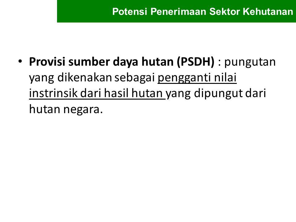Provisi sumber daya hutan (PSDH) : pungutan yang dikenakan sebagai pengganti nilai instrinsik dari hasil hutan yang dipungut dari hutan negara. Potens