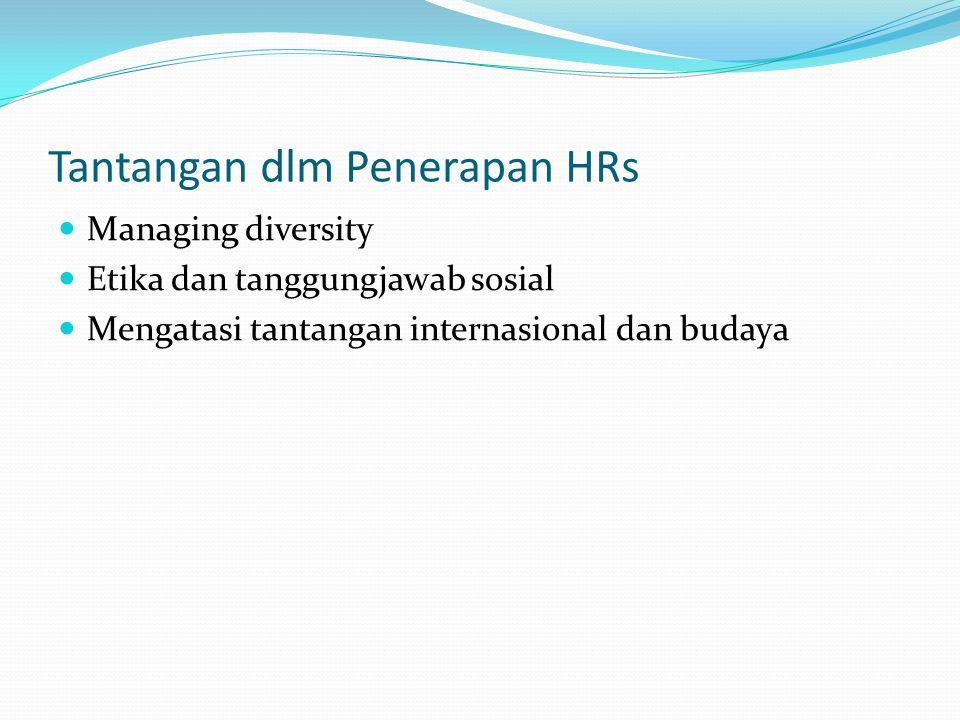 Tantangan dlm Penerapan HRs Managing diversity Etika dan tanggungjawab sosial Mengatasi tantangan internasional dan budaya