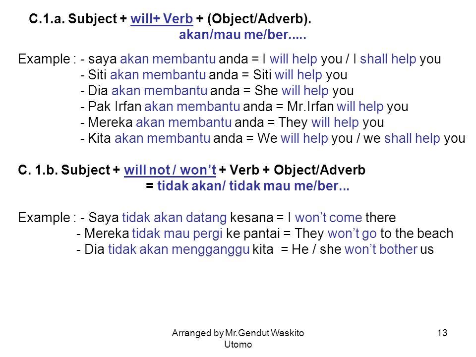 Arranged by Mr.Gendut Waskito Utomo 13 C.1.a. Subject + will+ Verb + (Object/Adverb). akan/mau me/ber..... Example : - saya akan membantu anda = I wil
