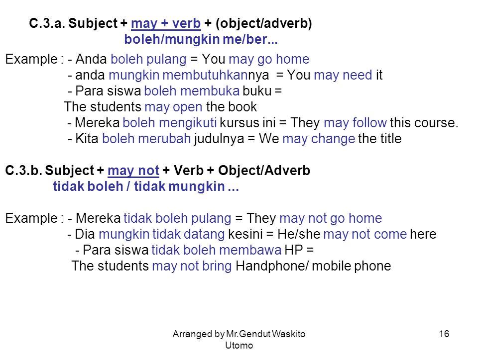 Arranged by Mr.Gendut Waskito Utomo 16 C.3.a. Subject + may + verb + (object/adverb) boleh/mungkin me/ber... Example : - Anda boleh pulang = You may g