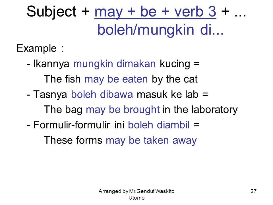 Arranged by Mr.Gendut Waskito Utomo 27 Subject + may + be + verb 3 +... boleh/mungkin di... Example : - Ikannya mungkin dimakan kucing = The fish may
