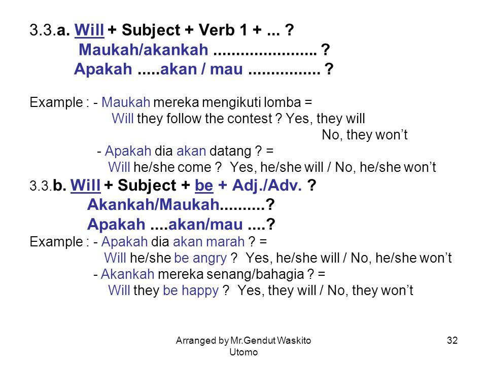 Arranged by Mr.Gendut Waskito Utomo 32 3.3.a. Will + Subject + Verb 1 +... ? Maukah/akankah....................... ? Apakah.....akan / mau............
