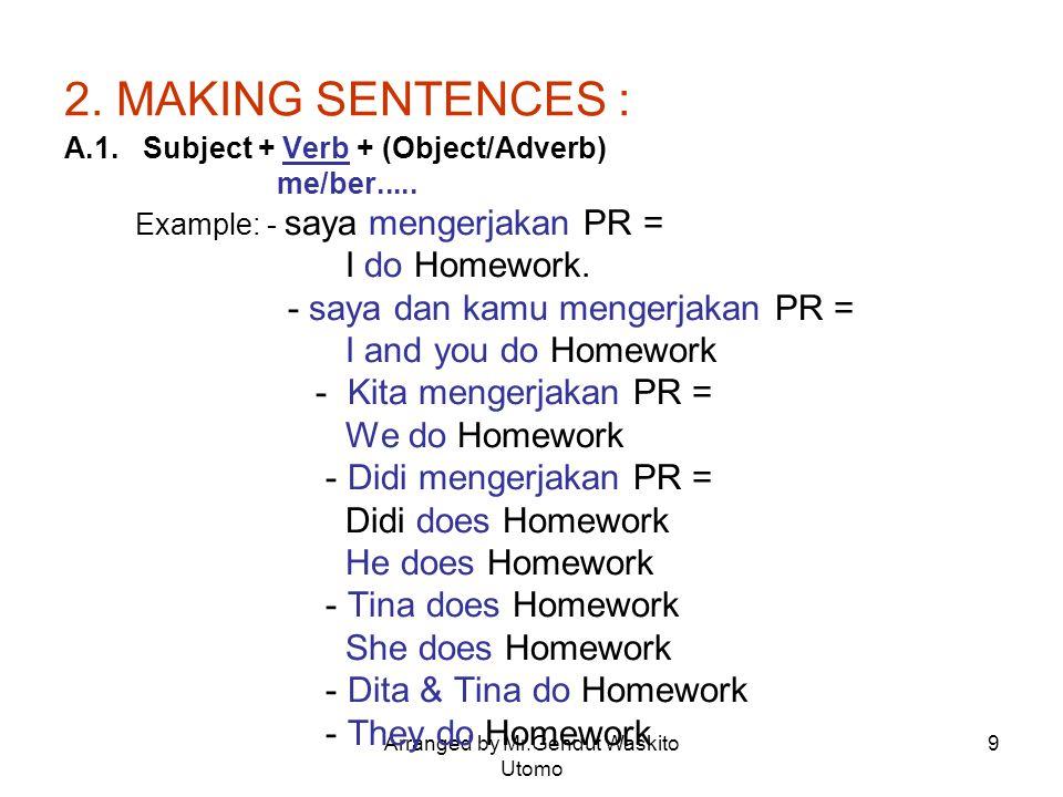 Arranged by Mr.Gendut Waskito Utomo 9 2. MAKING SENTENCES : A.1. Subject + Verb + (Object/Adverb) me/ber..... Example: - saya mengerjakan PR = I do Ho