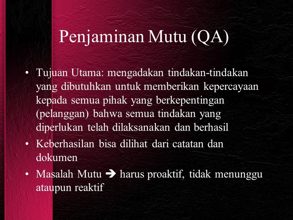 Penjaminan Mutu (QA) Tujuan Utama: mengadakan tindakan-tindakan yang dibutuhkan untuk memberikan kepercayaan kepada semua pihak yang berkepentingan (p