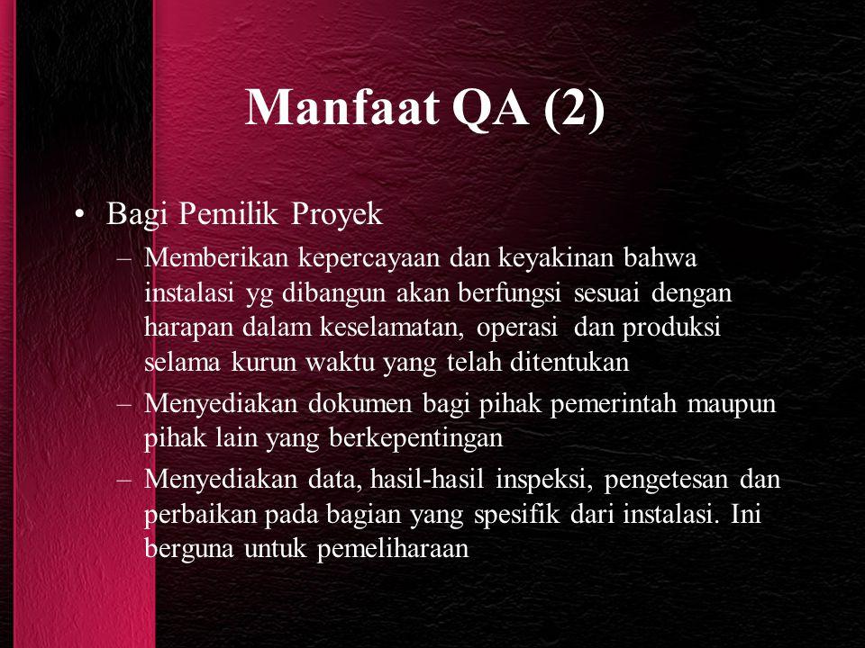 Manfaat QA (2) Bagi Pemilik Proyek –Memberikan kepercayaan dan keyakinan bahwa instalasi yg dibangun akan berfungsi sesuai dengan harapan dalam kesela