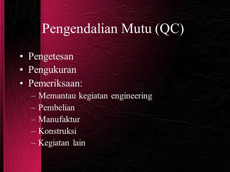 Pengendalian Mutu (QC) Pengetesan Pengukuran Pemeriksaan: –Memantau kegiatan engineering –Pembelian –Manufaktur –Konstruksi –Kegiatan lain