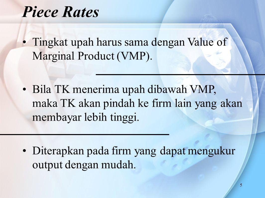 5 Tingkat upah harus sama dengan Value of Marginal Product (VMP). Bila TK menerima upah dibawah VMP, maka TK akan pindah ke firm lain yang akan membay