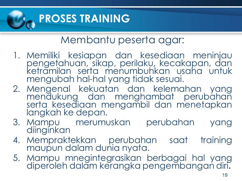 PROSES TRAINING Membantu peserta agar: 1.Memiliki kesiapan dan kesediaan meninjau pengetahuan, sikap, perilaku, kecakapan, dan ketramilan serta menumb