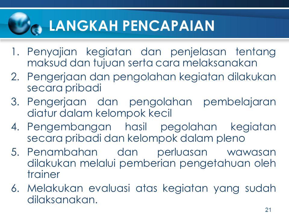 LANGKAH PENCAPAIAN 1.Penyajian kegiatan dan penjelasan tentang maksud dan tujuan serta cara melaksanakan 2.Pengerjaan dan pengolahan kegiatan dilakuka