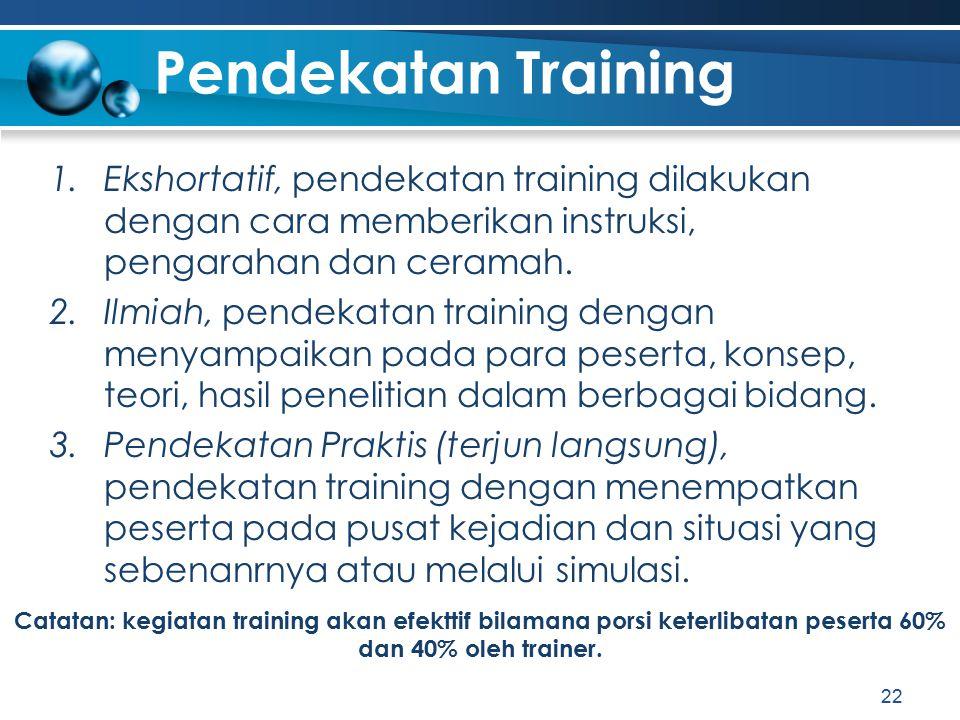 Pendekatan Training 1.Ekshortatif, pendekatan training dilakukan dengan cara memberikan instruksi, pengarahan dan ceramah. 2.Ilmiah, pendekatan traini