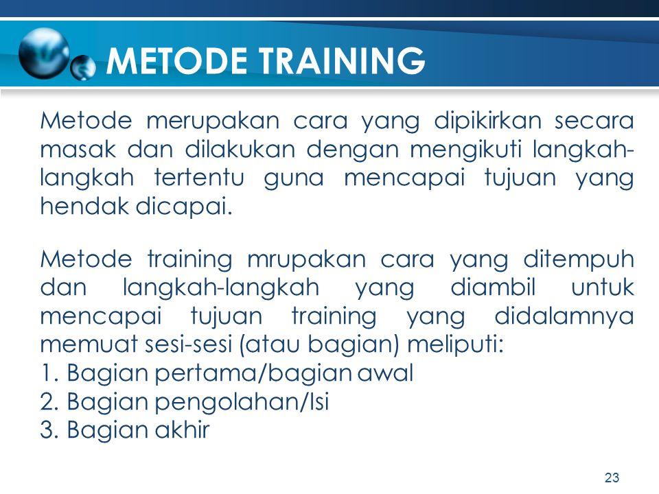 METODE TRAINING Metode merupakan cara yang dipikirkan secara masak dan dilakukan dengan mengikuti langkah- langkah tertentu guna mencapai tujuan yang