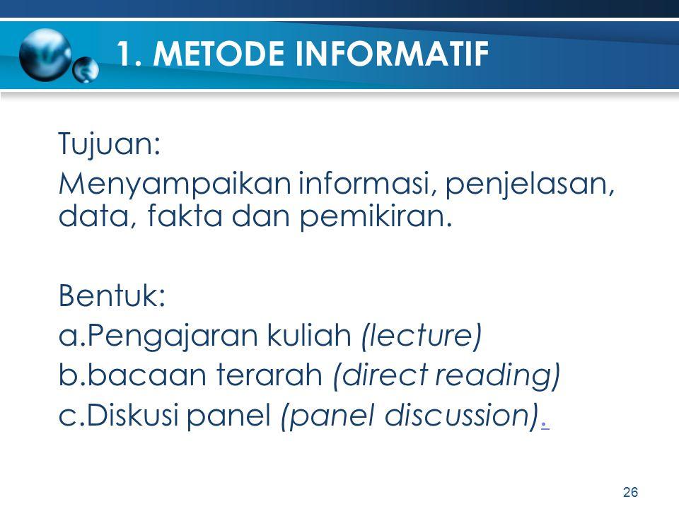 1. METODE INFORMATIF Tujuan: Menyampaikan informasi, penjelasan, data, fakta dan pemikiran. Bentuk: a.Pengajaran kuliah (lecture) b.bacaan terarah (di