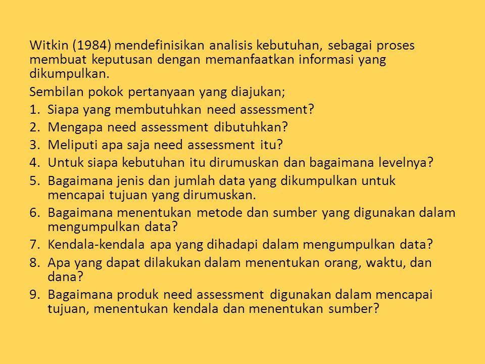Witkin (1984) mendefinisikan analisis kebutuhan, sebagai proses membuat keputusan dengan memanfaatkan informasi yang dikumpulkan. Sembilan pokok perta