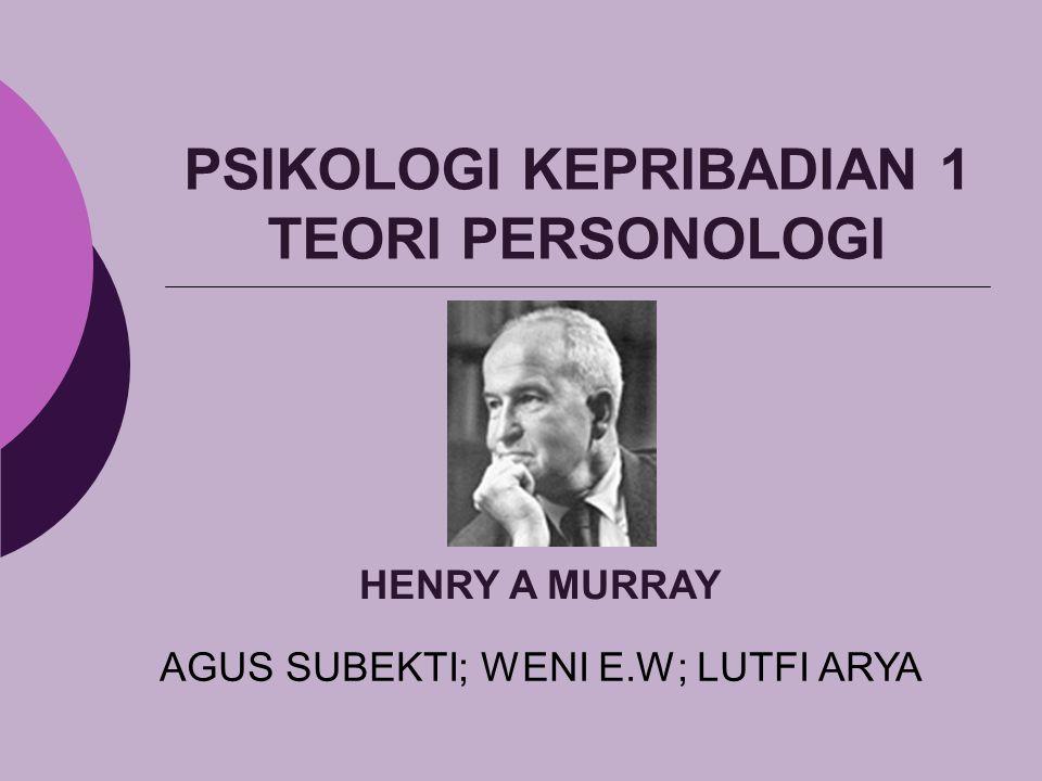 PSIKOLOGI KEPRIBADIAN 1 TEORI PERSONOLOGI AGUS SUBEKTI; WENI E.W; LUTFI ARYA HENRY A MURRAY