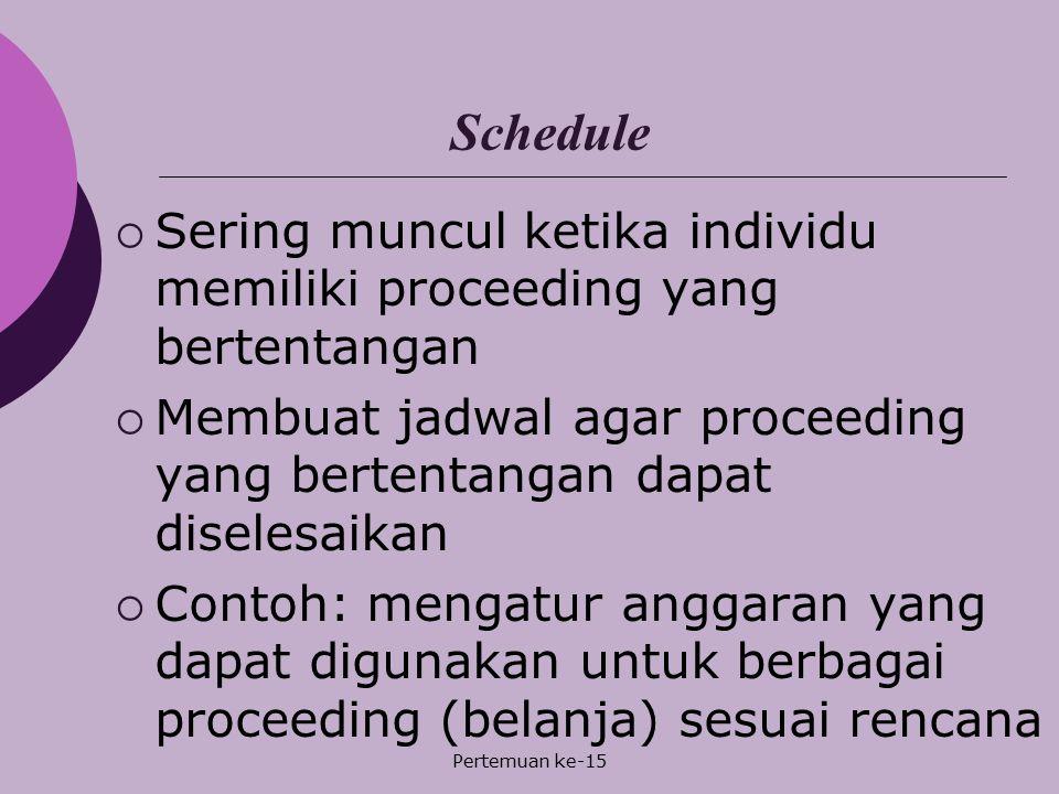 Pertemuan ke-15 Schedule  Sering muncul ketika individu memiliki proceeding yang bertentangan  Membuat jadwal agar proceeding yang bertentangan dapa