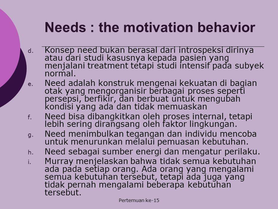 Pertemuan ke-15 Needs : the motivation behavior d. Konsep need bukan berasal dari introspeksi dirinya atau dari studi kasusnya kepada pasien yang menj