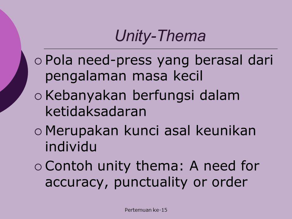 Pertemuan ke-15 Unity-Thema  Pola need-press yang berasal dari pengalaman masa kecil  Kebanyakan berfungsi dalam ketidaksadaran  Merupakan kunci as