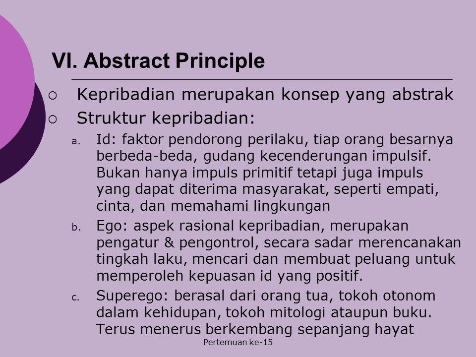 Pertemuan ke-15 VI. Abstract Principle  Kepribadian merupakan konsep yang abstrak  Struktur kepribadian: a. Id: faktor pendorong perilaku, tiap oran