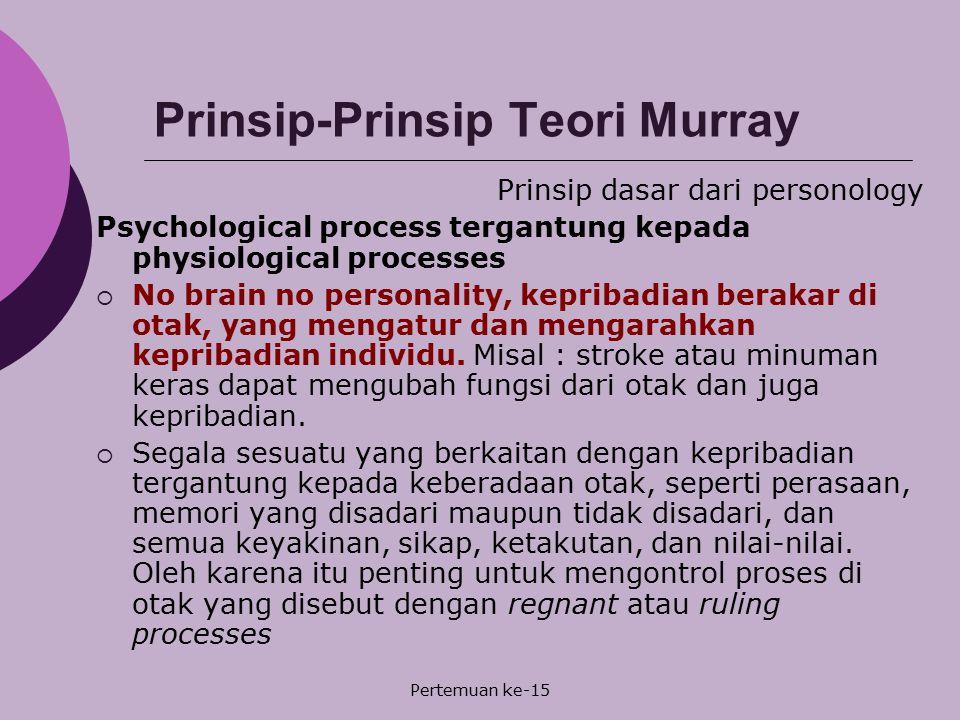 Pertemuan ke-15 Prinsip-Prinsip Teori Murray Prinsip dasar dari personology Psychological process tergantung kepada physiological processes  No brain