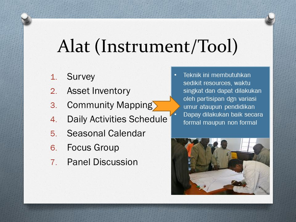 Alat (Instrument/Tool) 1.Survey 2. Asset Inventory 3.