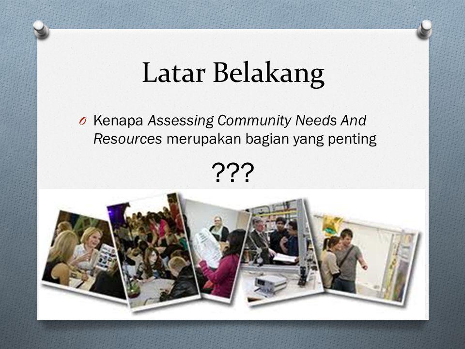 Latar Belakang O Kenapa Assessing Community Needs And Resources merupakan bagian yang penting ???
