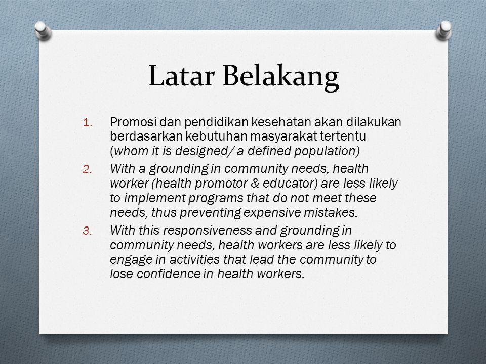 Latar Belakang 1. Promosi dan pendidikan kesehatan akan dilakukan berdasarkan kebutuhan masyarakat tertentu (whom it is designed/ a defined population