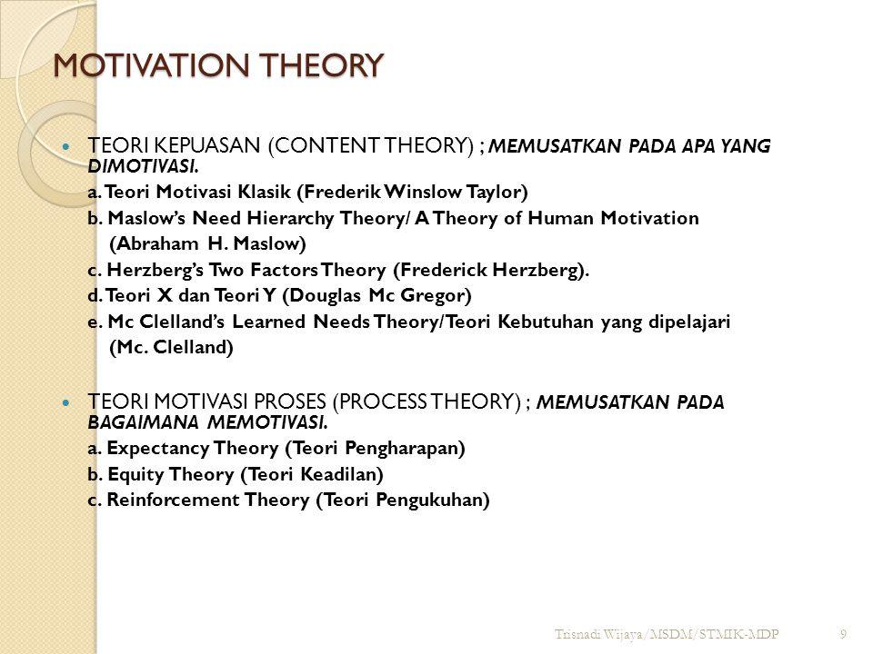 Teori Motivasi Klasik Disebut juga Teori Kebutuhan Tunggal.