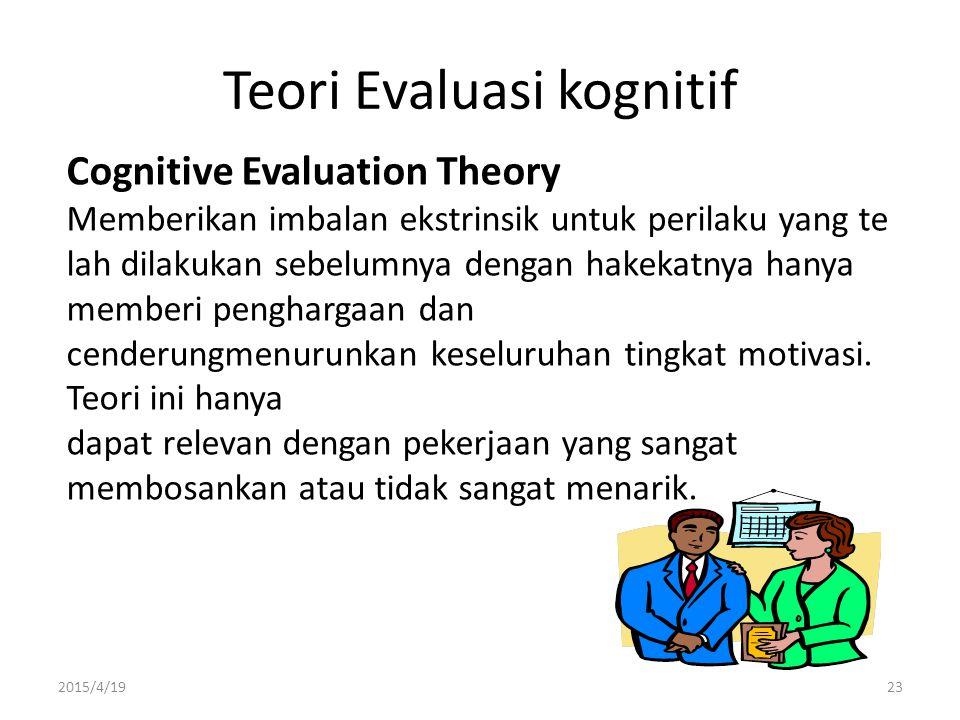 2015/4/1923 Teori Evaluasi kognitif Cognitive Evaluation Theory Memberikan imbalan ekstrinsik untuk perilaku yang te lah dilakukan sebelumnya dengan h