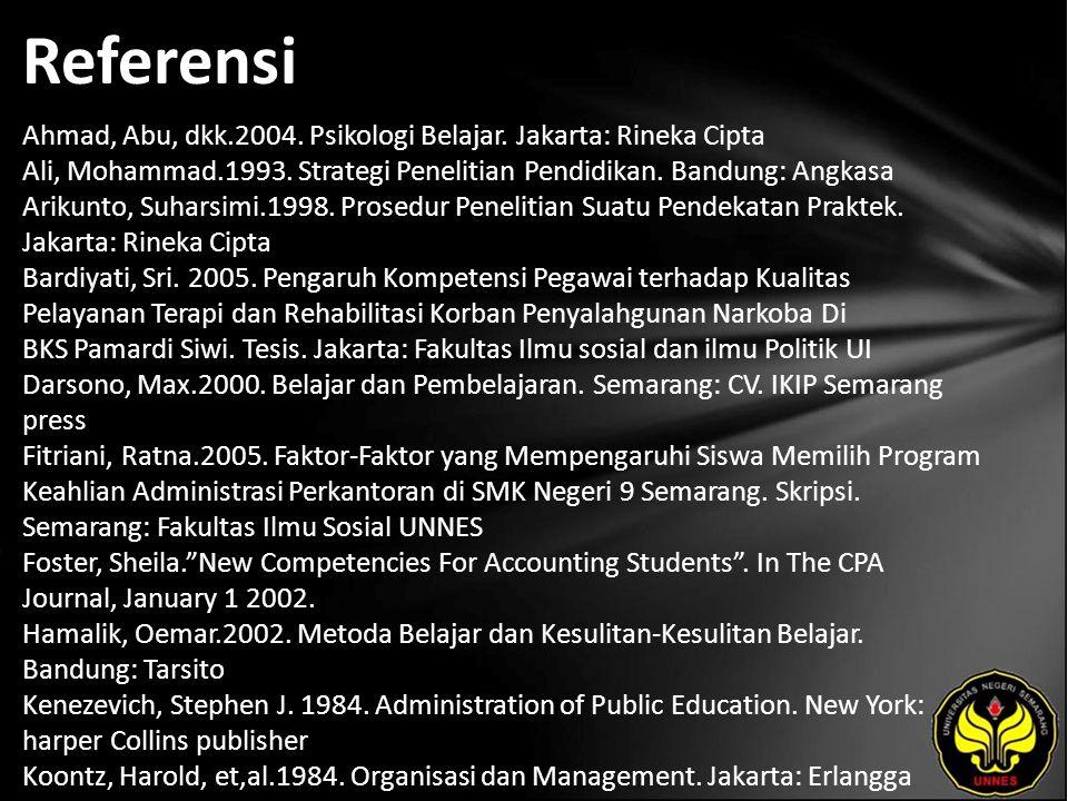 Referensi Ahmad, Abu, dkk.2004. Psikologi Belajar. Jakarta: Rineka Cipta Ali, Mohammad.1993. Strategi Penelitian Pendidikan. Bandung: Angkasa Arikunto