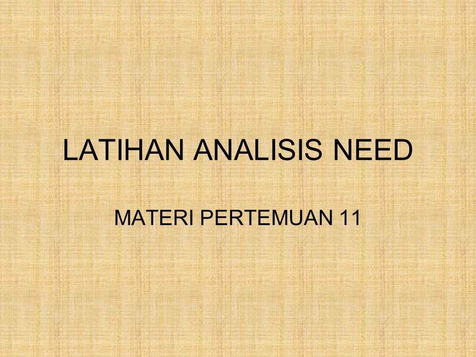 LATIHAN ANALISIS NEED MATERI PERTEMUAN 11