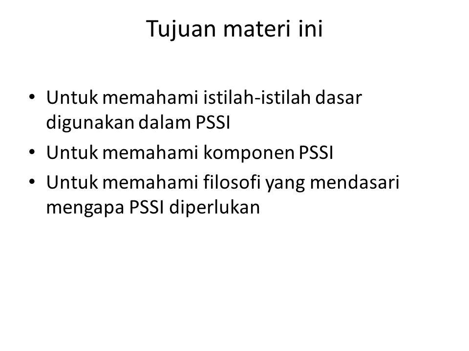 Agenda Definisi PSSI Definisi Persyaratan Dasar Penggunaan di PSSI Alasan untuk memiliki PSSI Persyaratan untuk Mengembangkan PSSI Keuntungan Memiliki PSSI Latihan Sesi ini