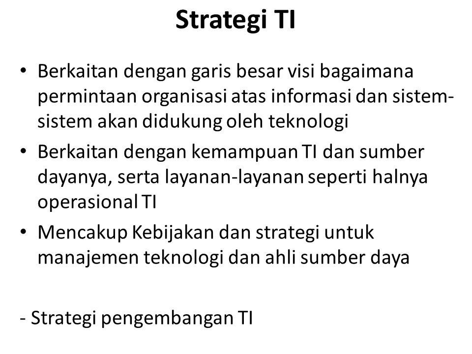 Strategi TI Berkaitan dengan garis besar visi bagaimana permintaan organisasi atas informasi dan sistem- sistem akan didukung oleh teknologi Berkaitan