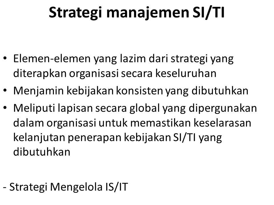 Strategi manajemen SI/TI Elemen-elemen yang lazim dari strategi yang diterapkan organisasi secara keseluruhan Menjamin kebijakan konsisten yang dibutu