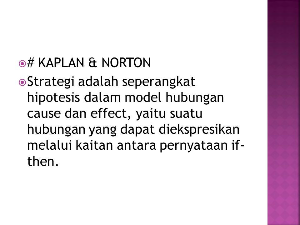  # KAPLAN & NORTON  Strategi adalah seperangkat hipotesis dalam model hubungan cause dan effect, yaitu suatu hubungan yang dapat diekspresikan melalui kaitan antara pernyataan if- then.