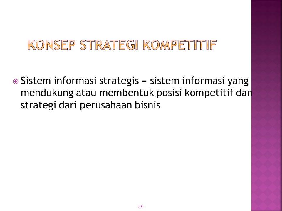  Sistem informasi strategis = sistem informasi yang mendukung atau membentuk posisi kompetitif dan strategi dari perusahaan bisnis 26